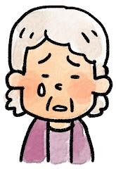 おばあさんの表情のイラスト(泣き)