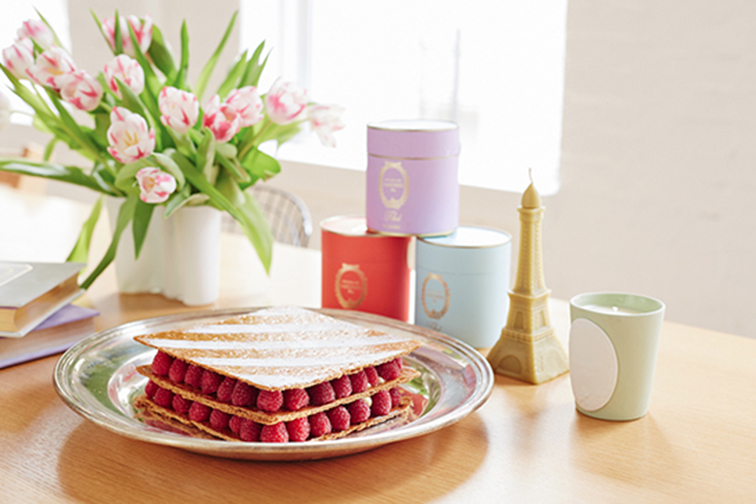 Raspberry layered pastry from Ladurée, spring tulips