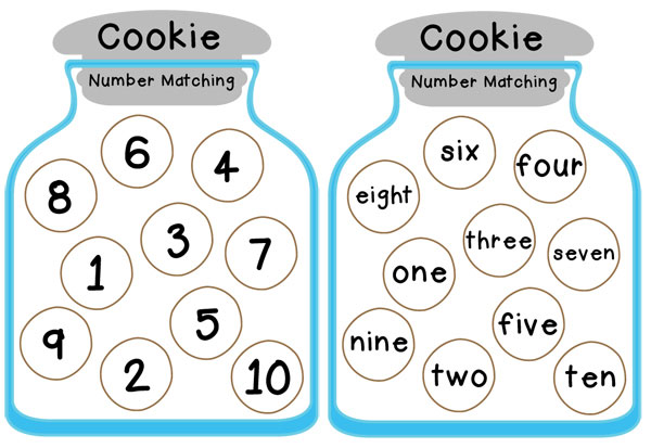 cookie jar number matching free printable totschooling toddler preschool kindergarten. Black Bedroom Furniture Sets. Home Design Ideas