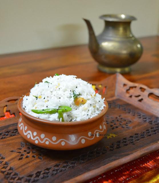 coconut rice, thengai, saadam, sadam, kobbari annam, thenkai annam, nariyal chawal, thengai chor