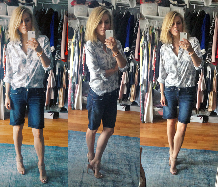 Ann Taylor paisley blouse, Vince Gemma heels, Rich & Skinny denim bermudas, selfie, walk in closet