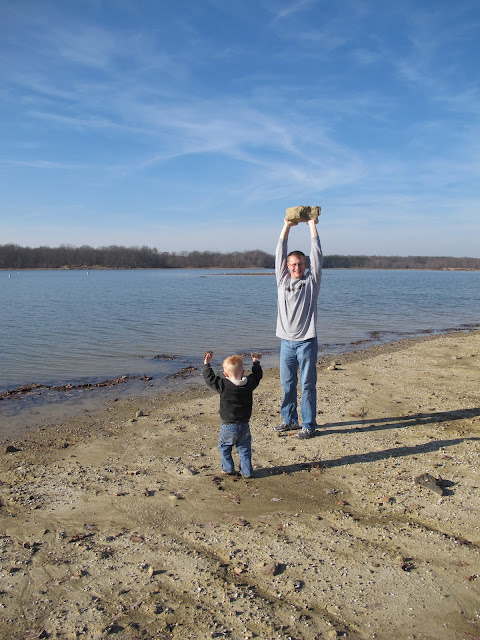 Porter & Daddy Find Rocks