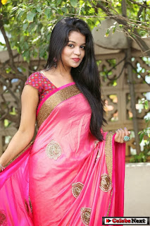 Actress Bhavya Sri  Pictures in Saree at Trendz Life Style Expo Launch  0069