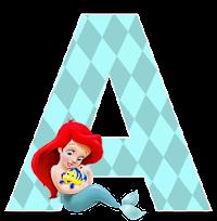 Alfabeto de la Sirenita con Flounder.