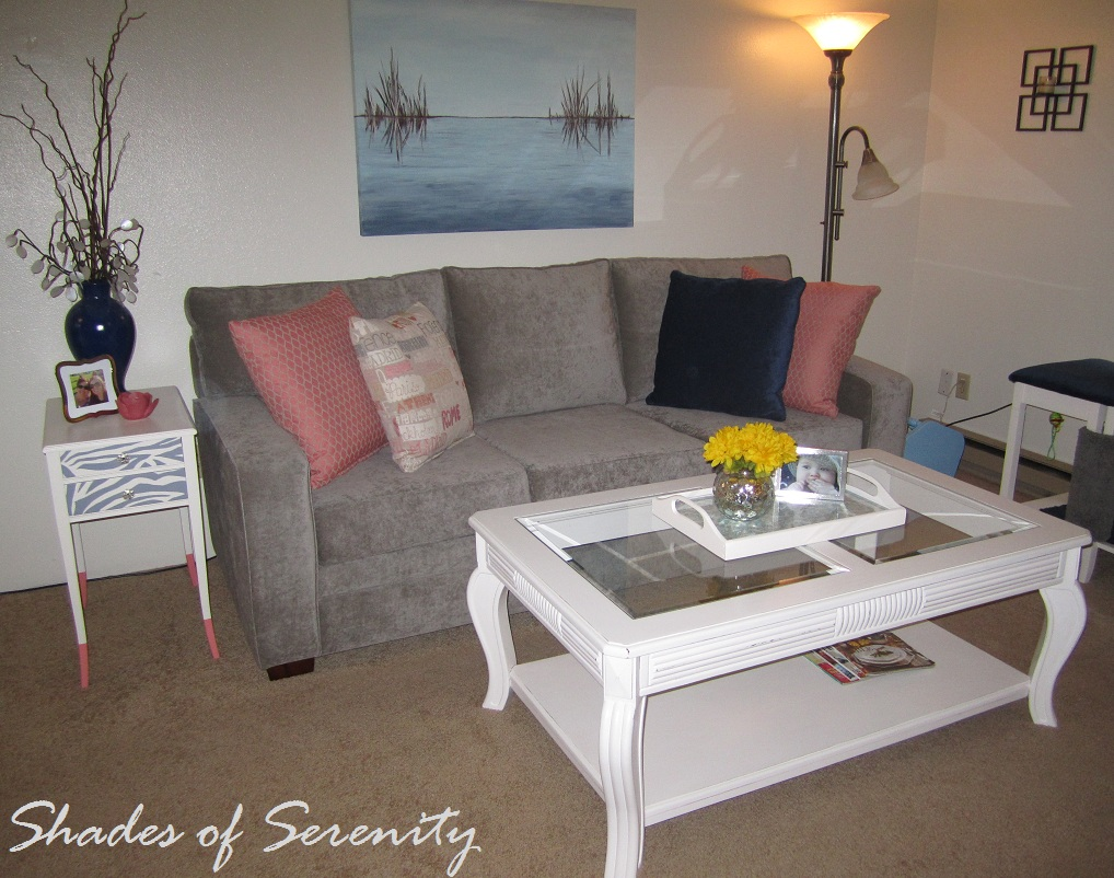Shades of serenity living room updates for Living room updates