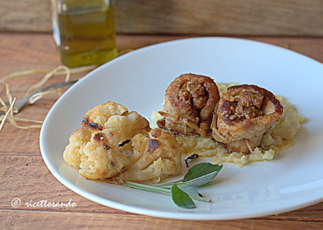 Bocconcini di lonza farciti su purea di cavolfiore ricetta piatti unici