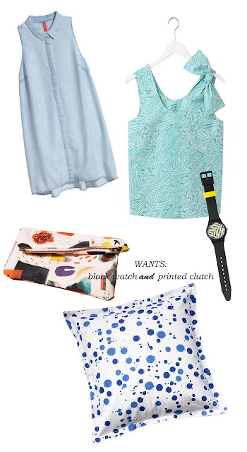 Kate Spade Saturday, h&m, watch, summer, denim, dress, clutch, pillow cover