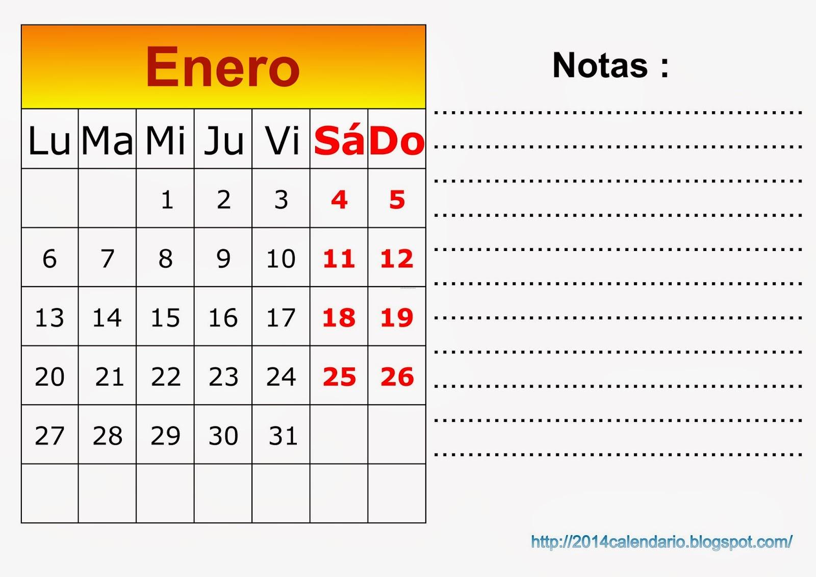 2014 con notas calendario 2014 personalizado con espacio para
