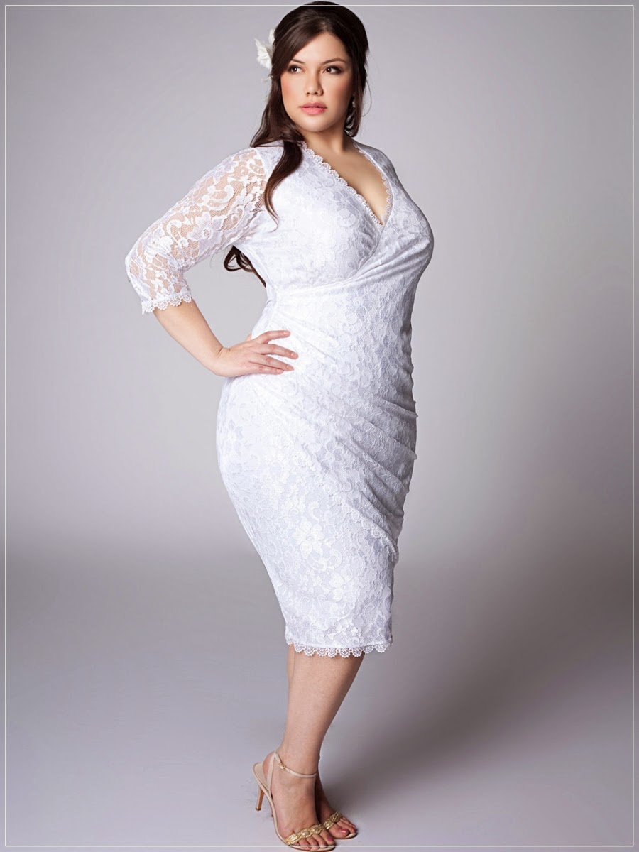 Plus size knee length wedding dresses with sleeves for Knee length wedding dresses with sleeves