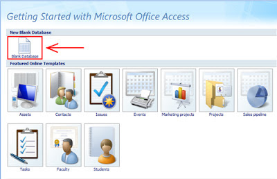 "Microsoft Office Access 2007, kemudian klik icon "" Blank Database"
