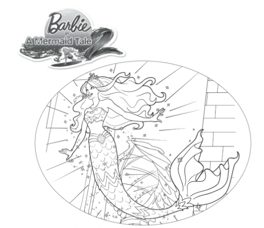 Barbie: Pagina para colorear de Barbie en una aventura de sirenas 2