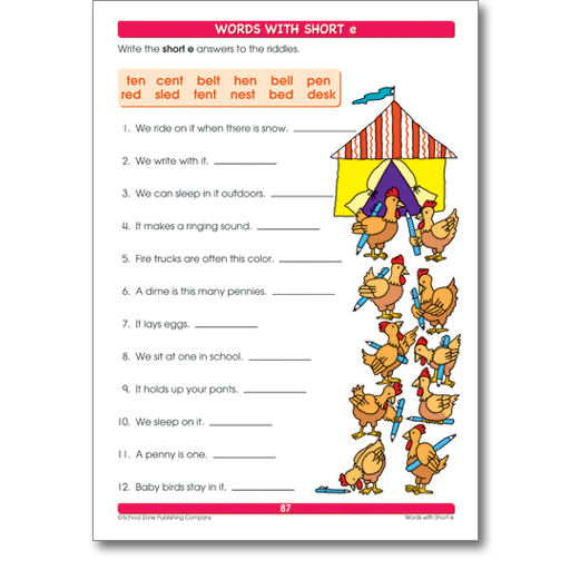 Printables School Zone Publishing Worksheets over thirty mommy get a leg up with school zones big spelling 1 perforated pages great for use as individual tear out worksheets wide range of words pictures and word pictures