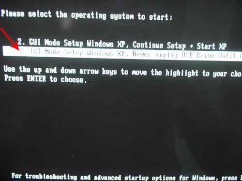 Install Windows XP from USB Start Screen
