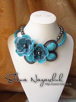 """Колье """"Бирюза"""" из бисера с натуральными камнями Beaded Necklace """"Turquoise""""  with gemstones бисероплетение украшения хендмейд бижутерия подарки  женщине handcrafted"""