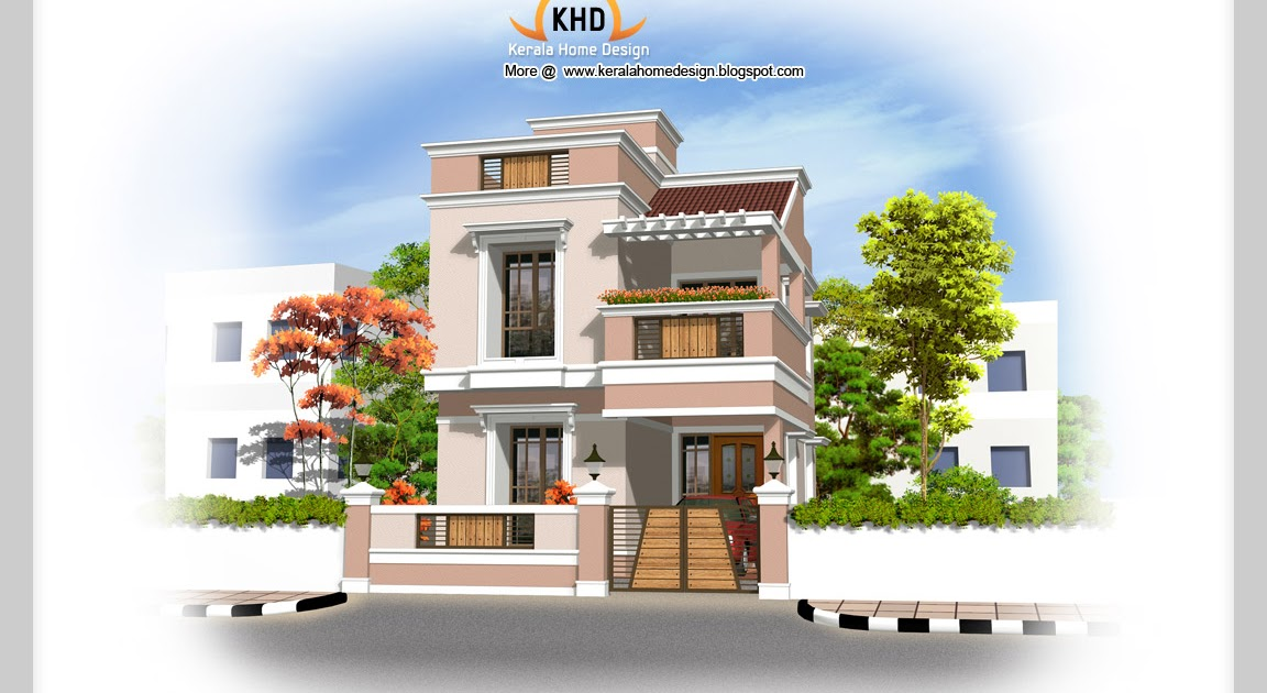 Front Elevation Of Duplex House In 1200 Sq Ft : Sq ft duplex house elevation kerala home design