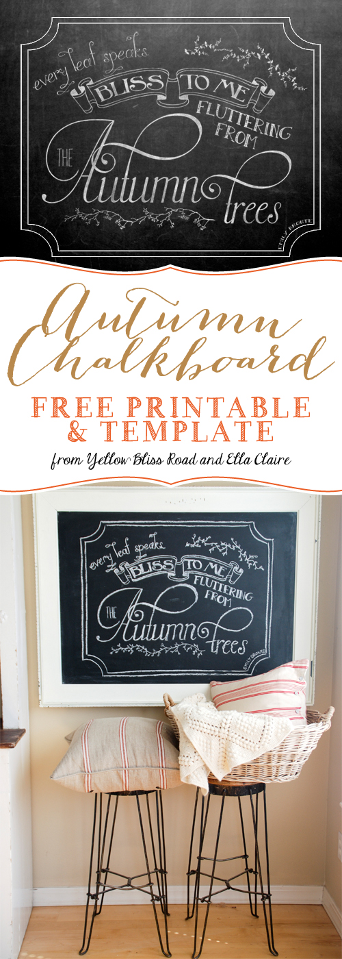 Autumn Chalkboard Free Printable and Template