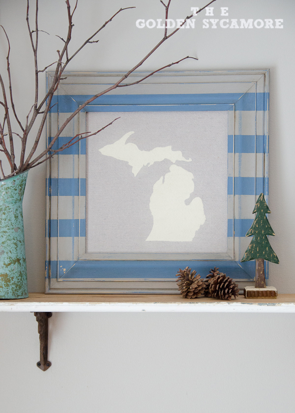 DIY State Map Art and Striped Frame - The Golden Sycamore