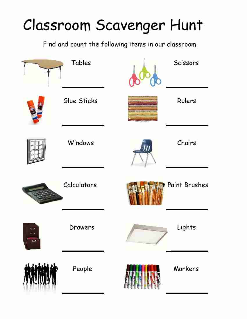 Empowered By THEM Classroom Scavenger Hunt – Scavenger Hunt Worksheet