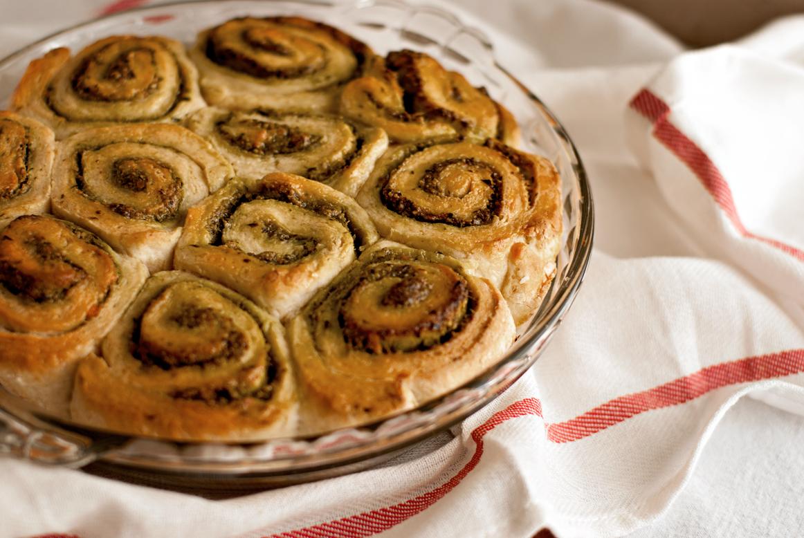 Garlic Chive Pesto Irish Soda Bread rolls
