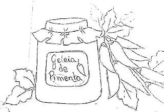 desenho pote de geleia de pimenta para pintar