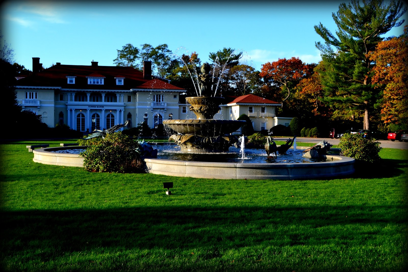 waters edge, fountain, tupper manor, endicott college, shadows, morning