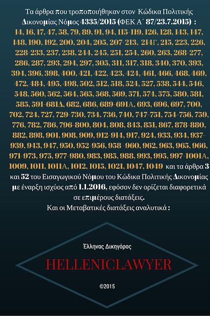 Τα άρθρα που τροποποιήθηκαν στον Κώδικα Πολιτικής Δικονομίας Νόμος 4335/2015