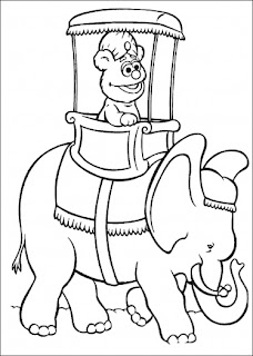elmo is riding an elephant coloring page