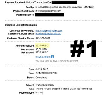Traffic Swirl Payment proof.
