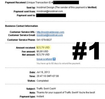 Traffic Swirl Payment proof.