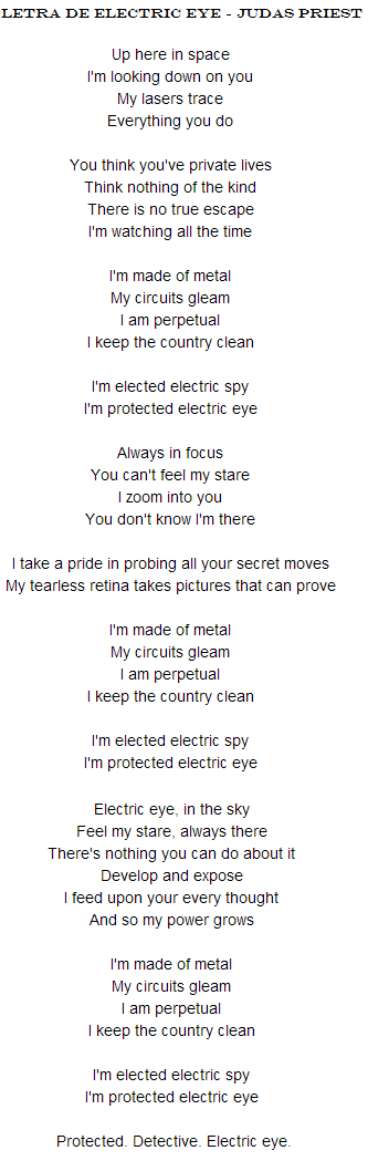 letra electric eye judas priest