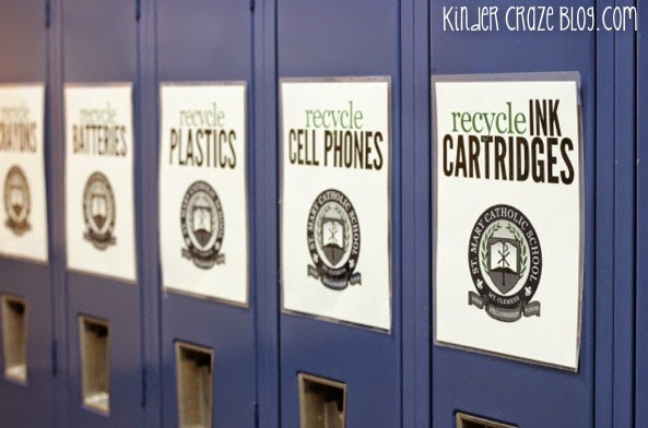 use lockers to store and organize a school recycle center