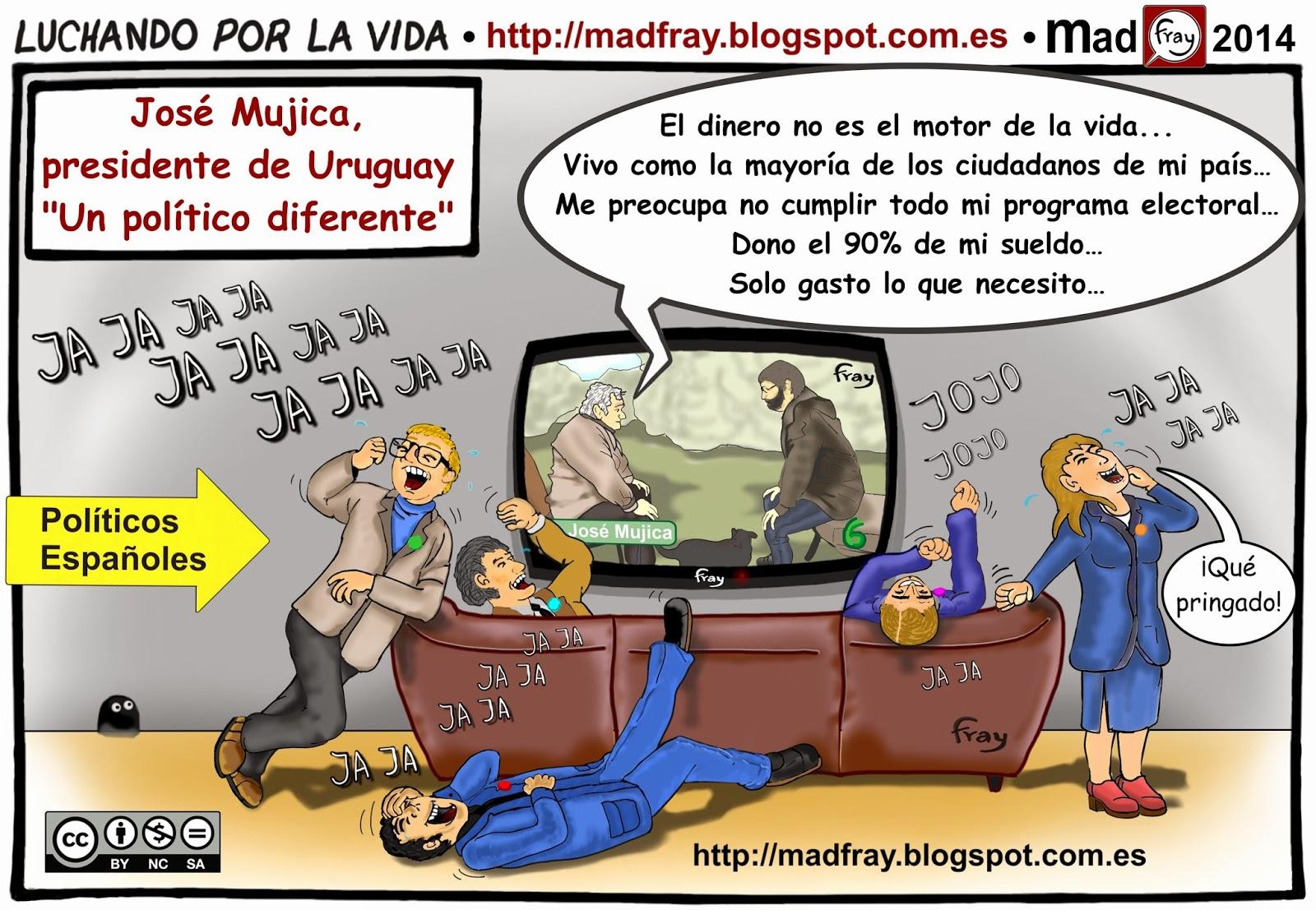 Viñeta humor: Políticos Españoles viendo la entrevista a José Mujica, Presidente de Uruguay