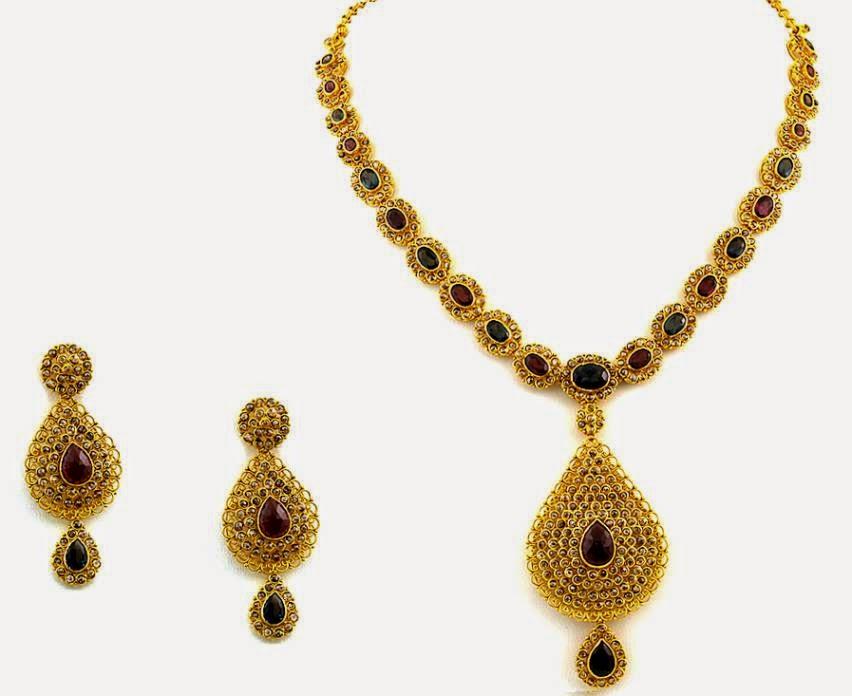 Jewellery Designs : Designer Uncut Diamond Necklace Set with ...