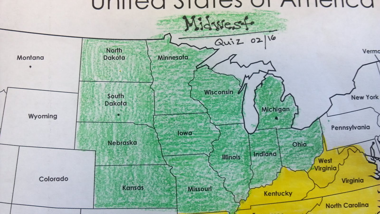 United States Political Map US States Regions Mrs Reeves Th UK - Us map showing regions
