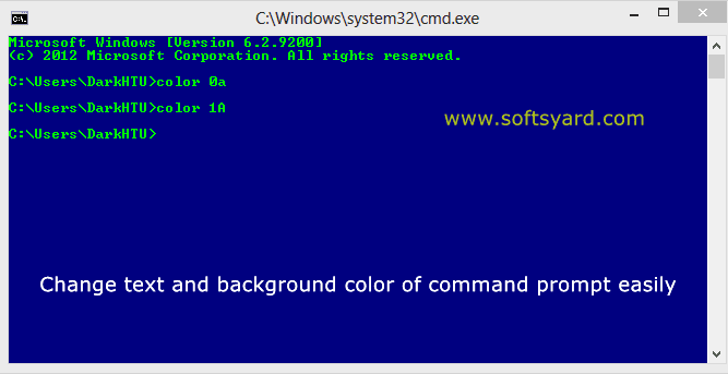 Change text and background color of command prompt easily