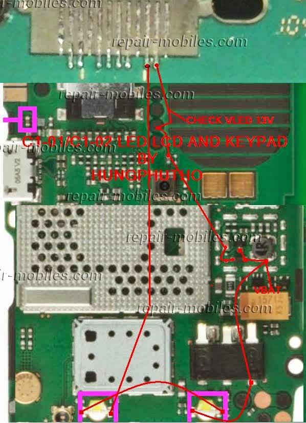 Trik Jumper Jalur Lampu Nokia C1-02 Dan Nokia C1-01