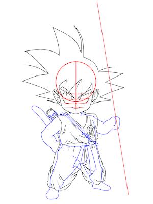 cara menggambar Goku kecil tahap 12