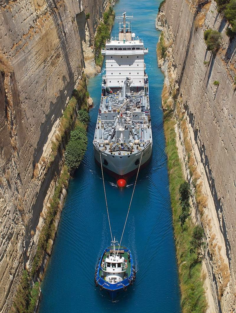 Corinth Canal in Greece  The Narrow shipping Channel in ...