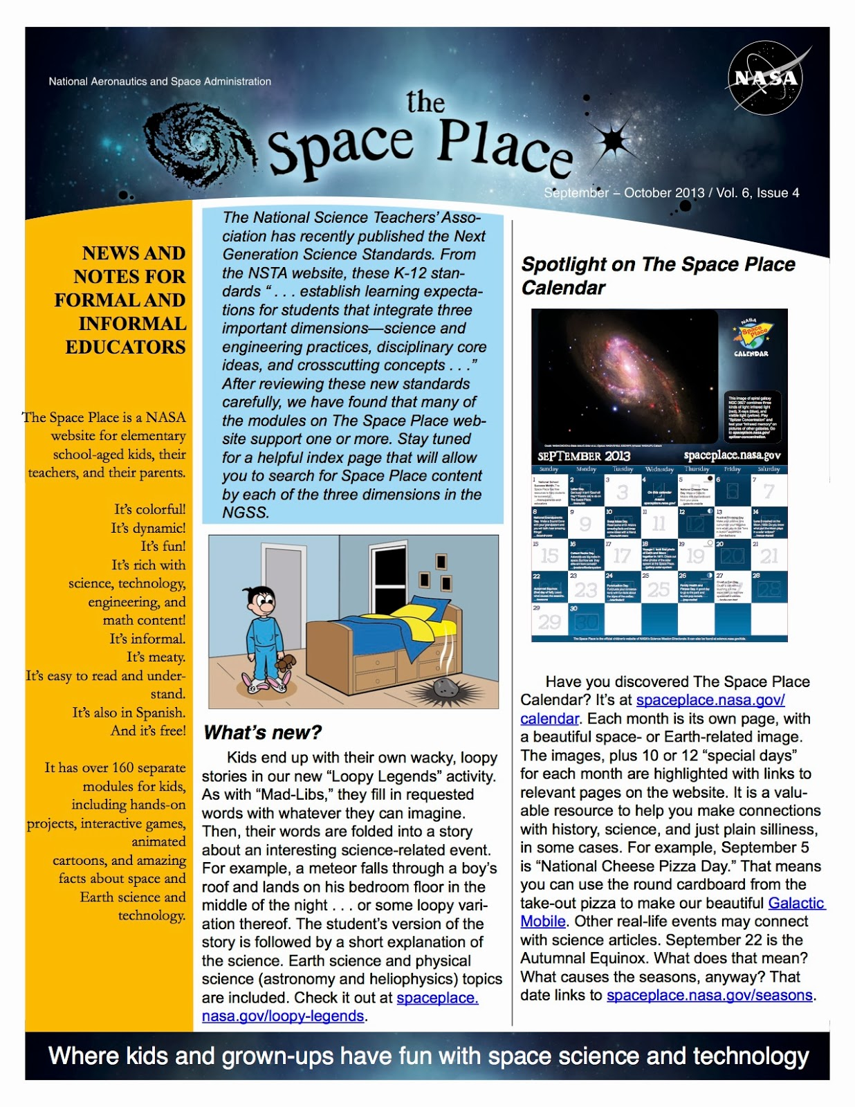 Nasa 39 s space place newsletter for september october 2013 for Space v place