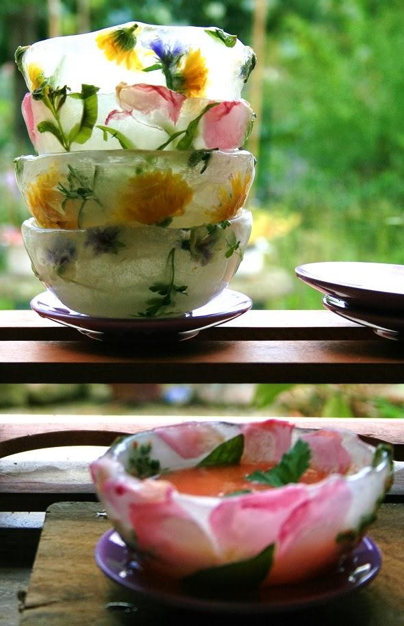 coppette di ghiaccio e fiori di campo