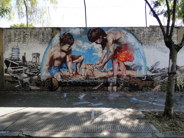 """Castles In The Sand"" New Street Art Collaboration by Australian artist Fintan Magee and Martin Ron in Buenos Aires. 2"
