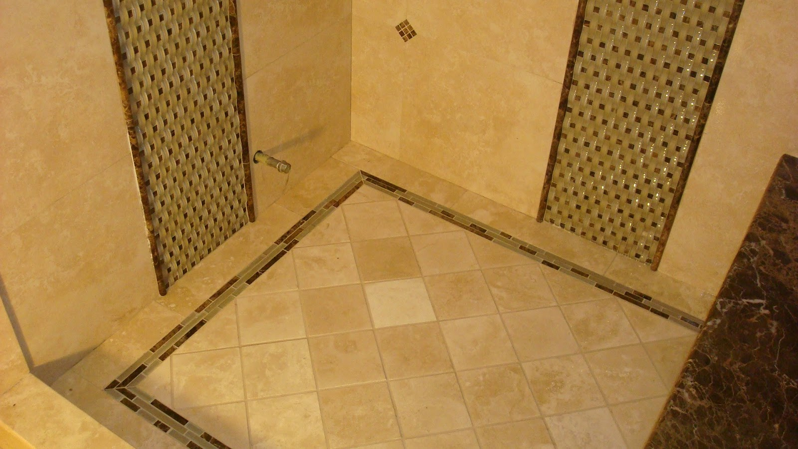 Tile floor shower