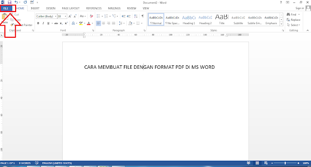 Cara membuat file PDF di ms word
