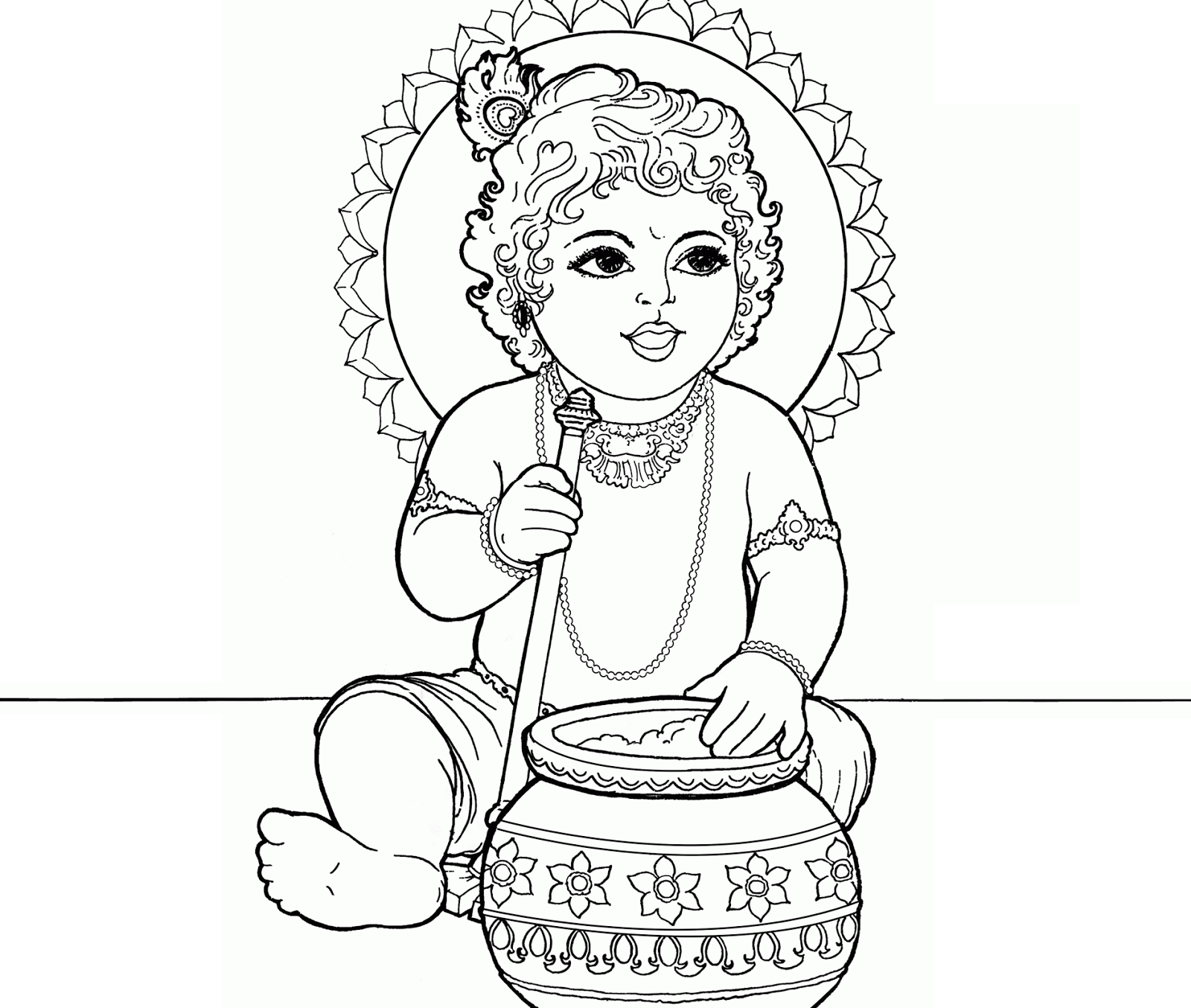 Colour Drawing Free Wallpaper Lord Baby Krishna Coloring Drawing Free Wallpaper