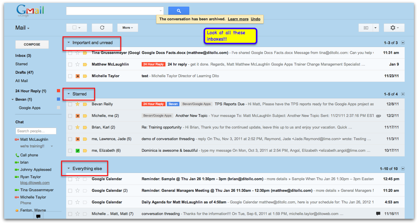 how to add more inbox sections in gmail