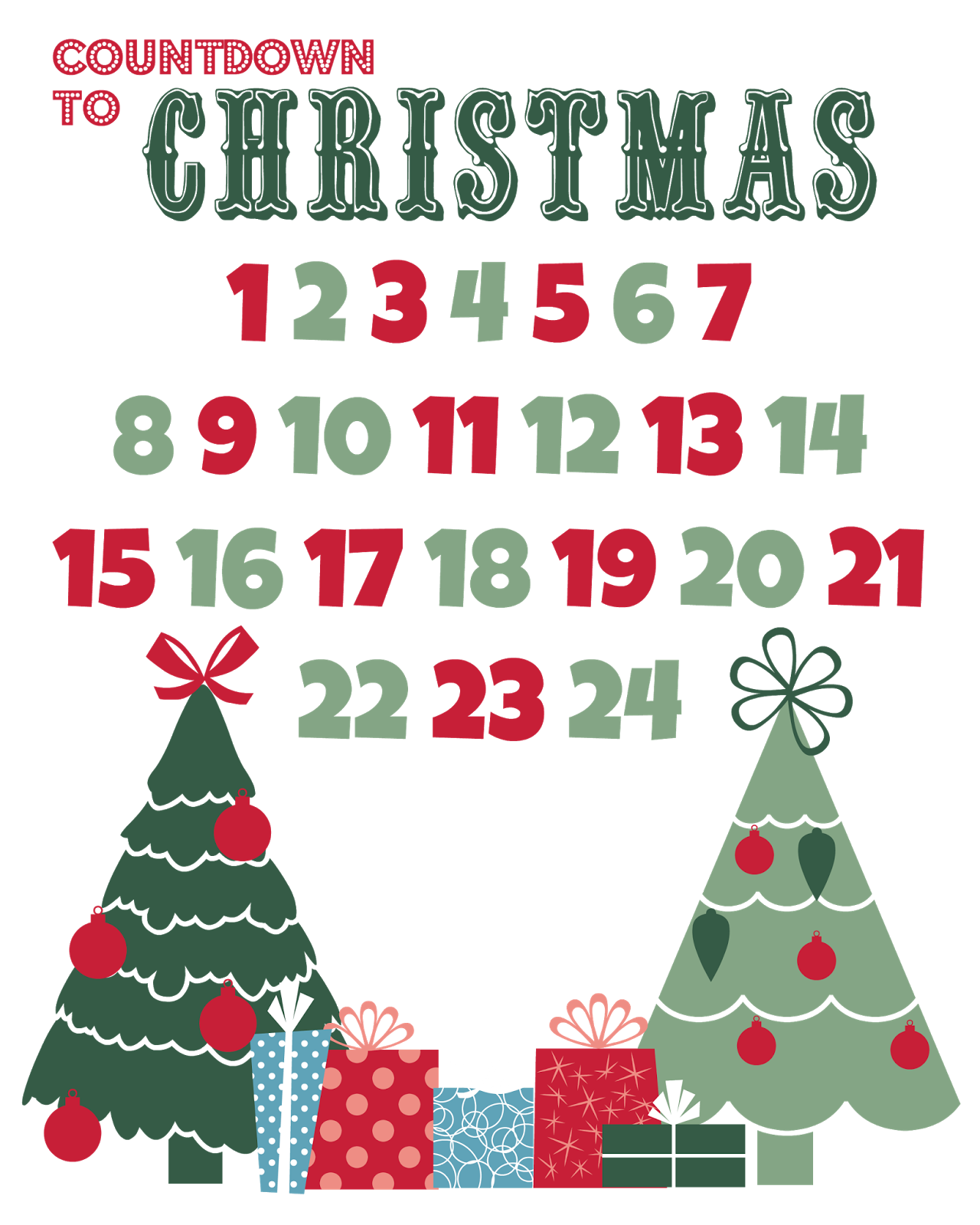 Juicy image with printable christmas countdown