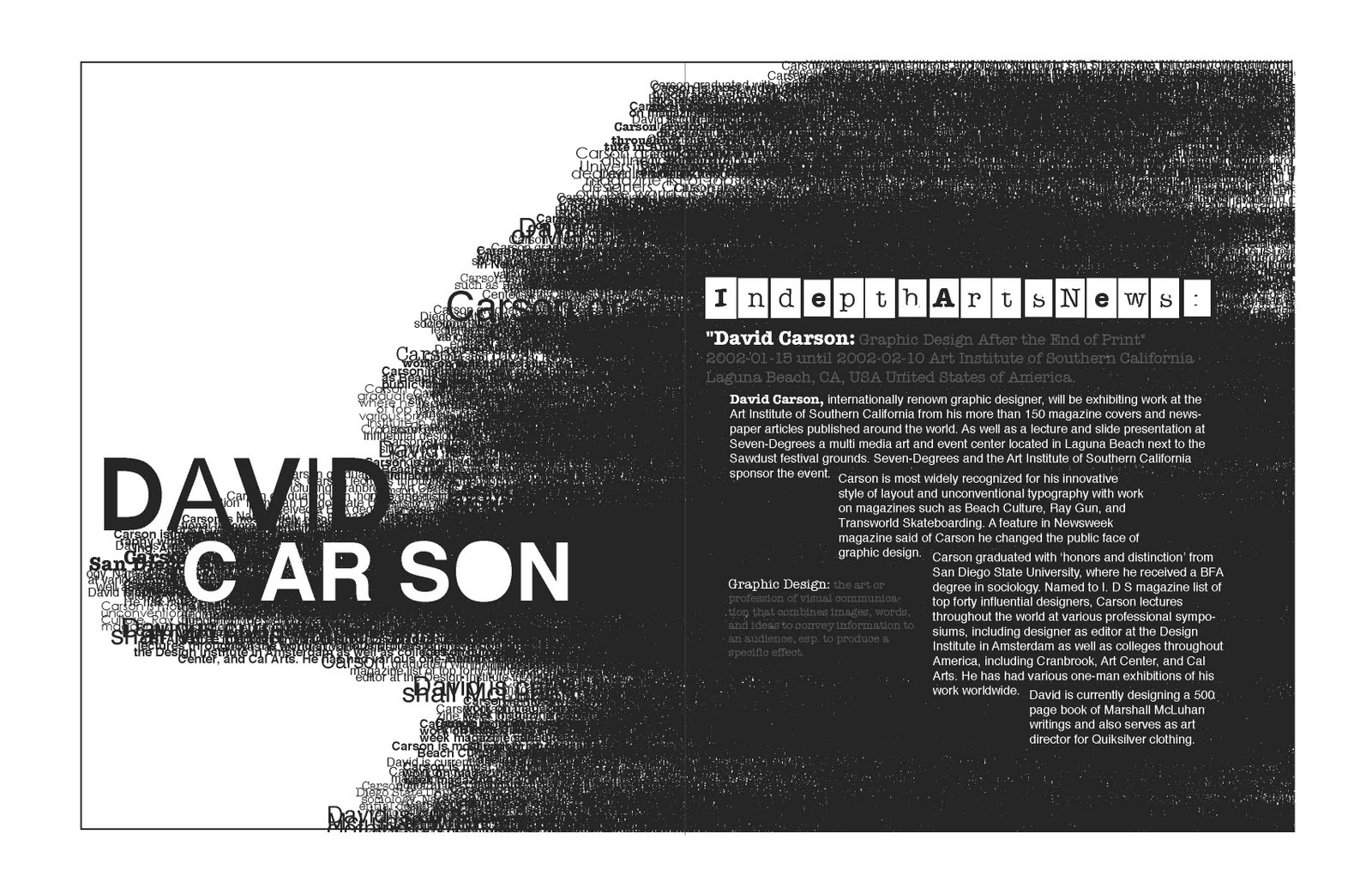 Magazine Spread about David Carson