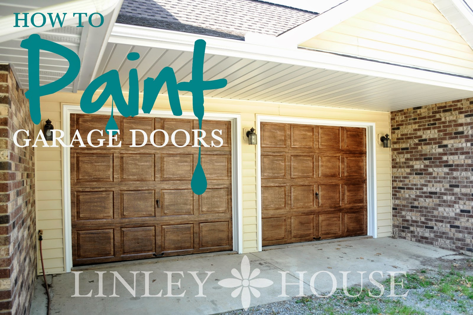 The linley house how to paint old garage doors for How to paint faux wood garage doors