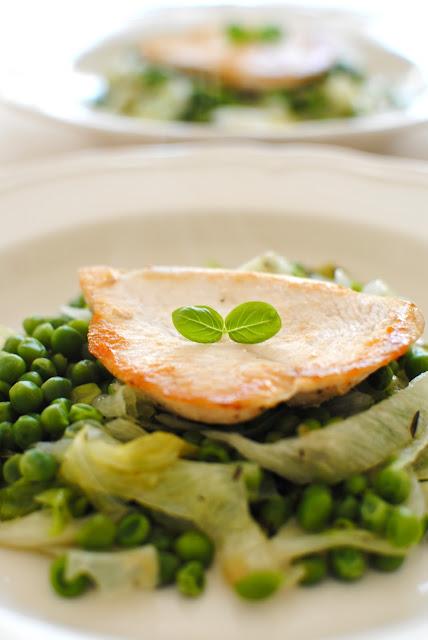 recept, kyckling, bräserade ärtor, gi, protein,