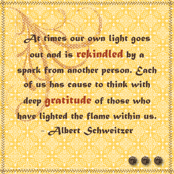 "12"" x 12"" MDS project featuring a quote on gratitude from Albert Schweitzer."